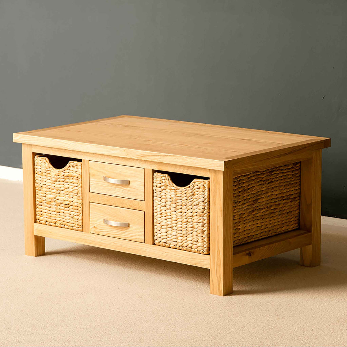 London Oak Coffee Table with Baskets - Lifestyle side view