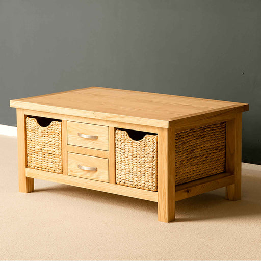 London Oak Coffee Table with Baskets by Roseland Furniture.