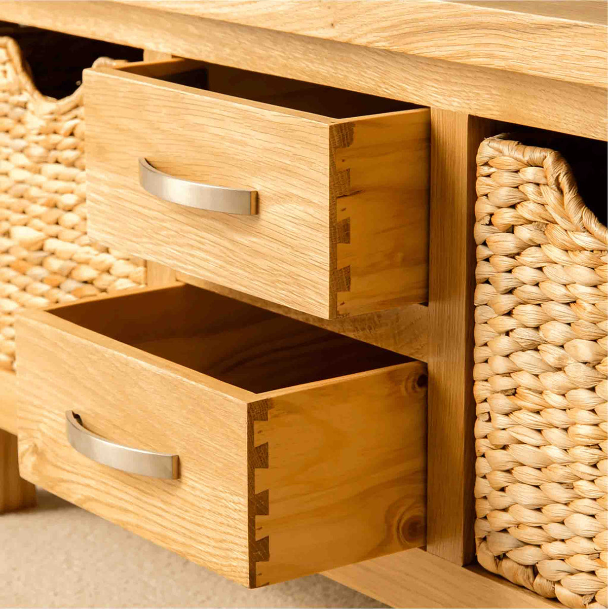 London Oak Coffee Table with Baskets - Lifestyle of dovetail joints on drawer