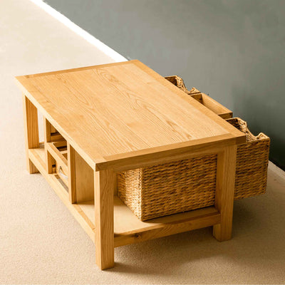 London Oak Coffee Table with Baskets - Lifestyle with drawers and baskets open