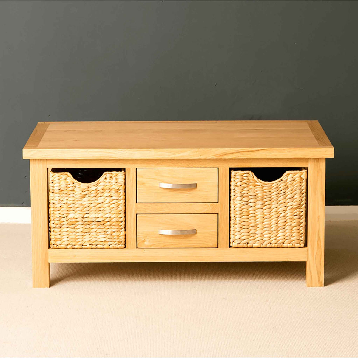 London Oak Coffee Table with Baskets - Lifestyle