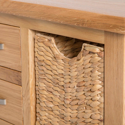 London Oak Coffee Table with Baskets by Roseland Furniture - Close up of basket