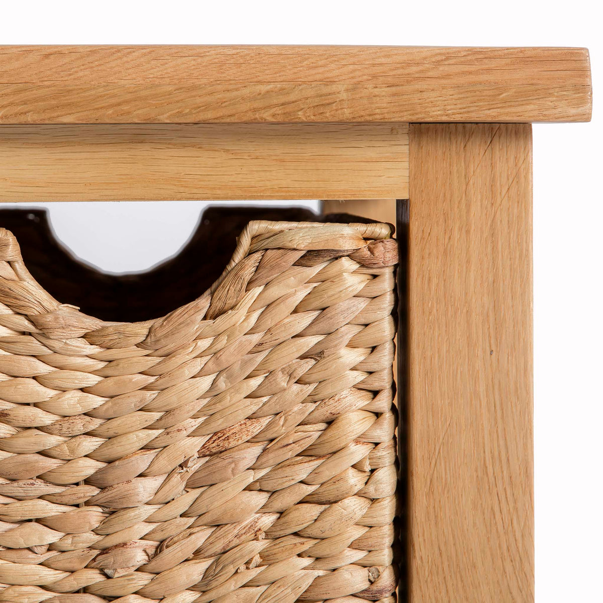 London Oak Coffee Table with Baskets by Roseland Furniture - Front close up of basket