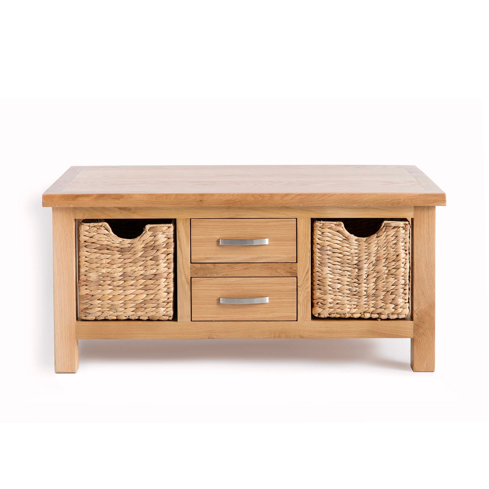 London Oak Coffee Table with Baskets by Roseland Furniture
