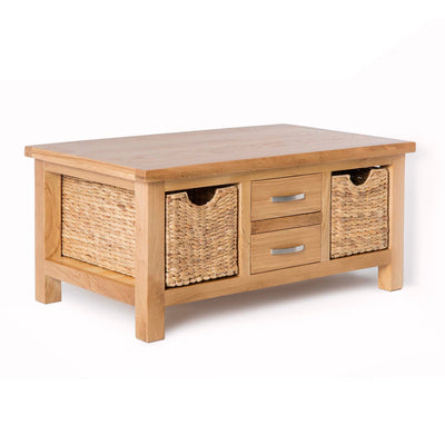 London Oak Coffee Table with Baskets by Roseland Furniture - Side view