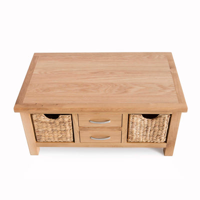 London Oak Coffee Table with Baskets by Roseland Furniture - Top view