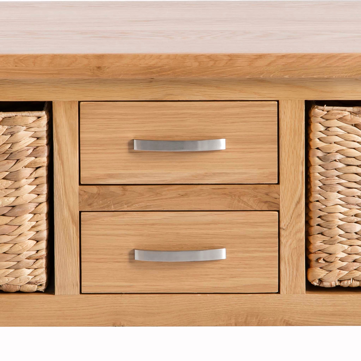 London Oak Coffee Table with Baskets by Roseland Furniture - Close up of drawers