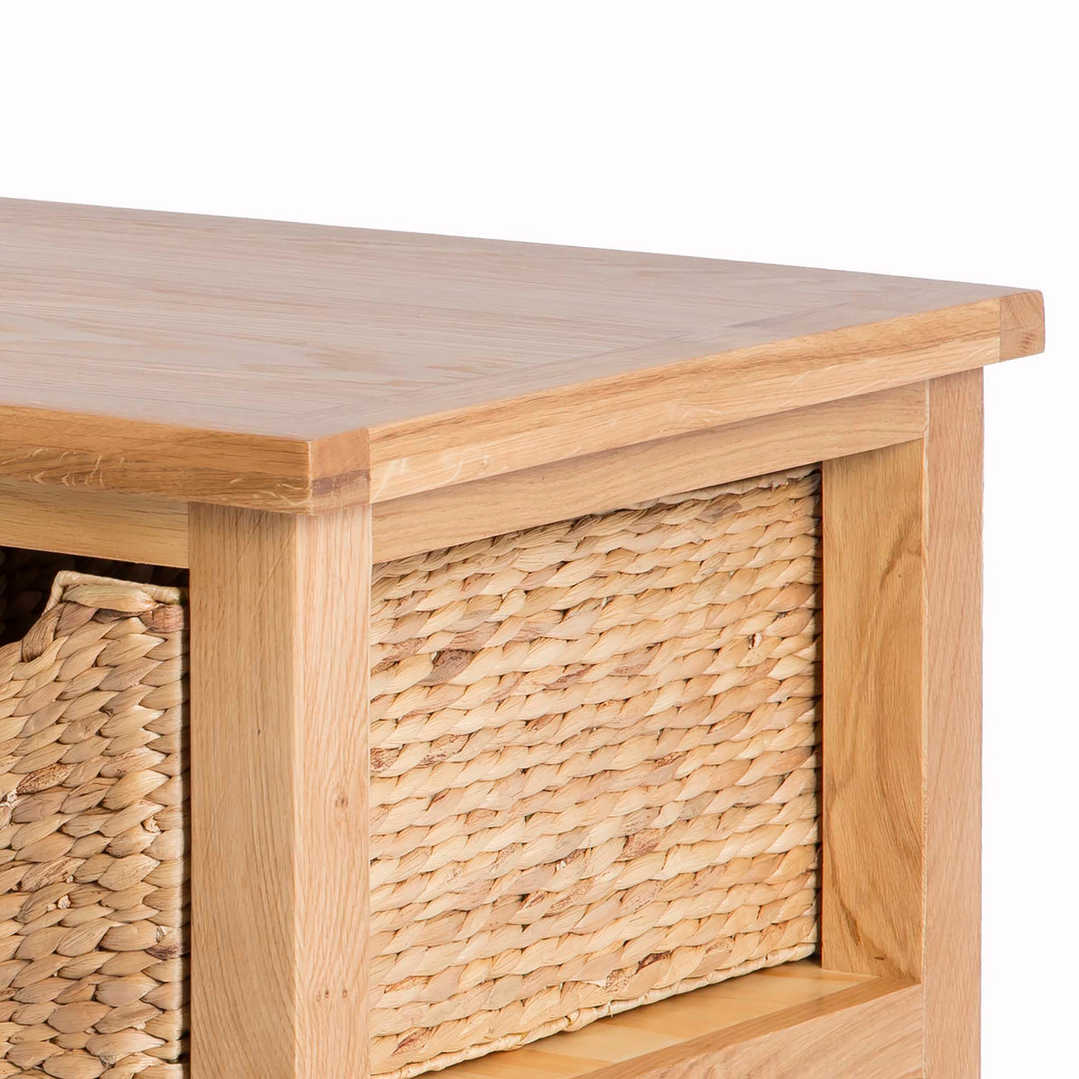 London Oak Coffee Table with Baskets by Roseland Furniture - Close up of side of table