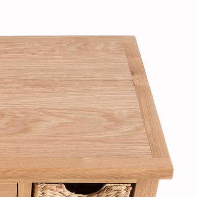 London Oak Coffee Table with Baskets by Roseland Furniture - Close up of oak top