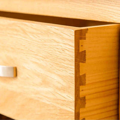 Dovetail joints on a London Oak Console Table with baskets.