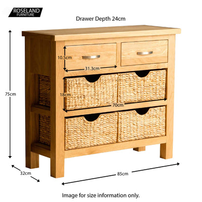 London Oak Console Table with Baskets - Size guide