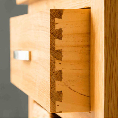 Dovetail joints a London Oak Hall Table with Baskets.