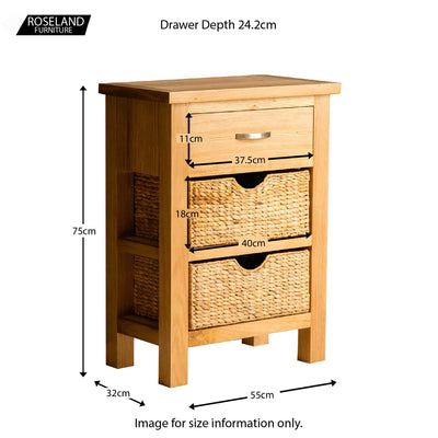 London Oak Hall Table with Baskets - Size guide