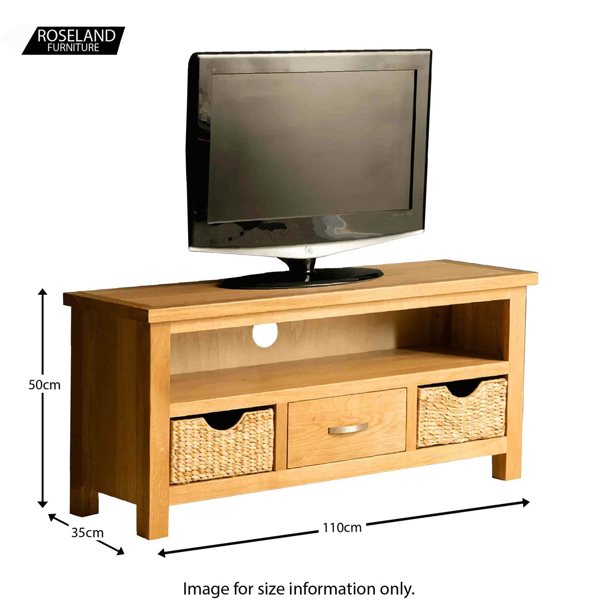 London Oak 110cm TV Stand with Baskets - size guide