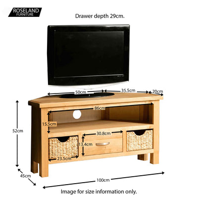 London Oak Corner TV Stand with Baskets - Size guide