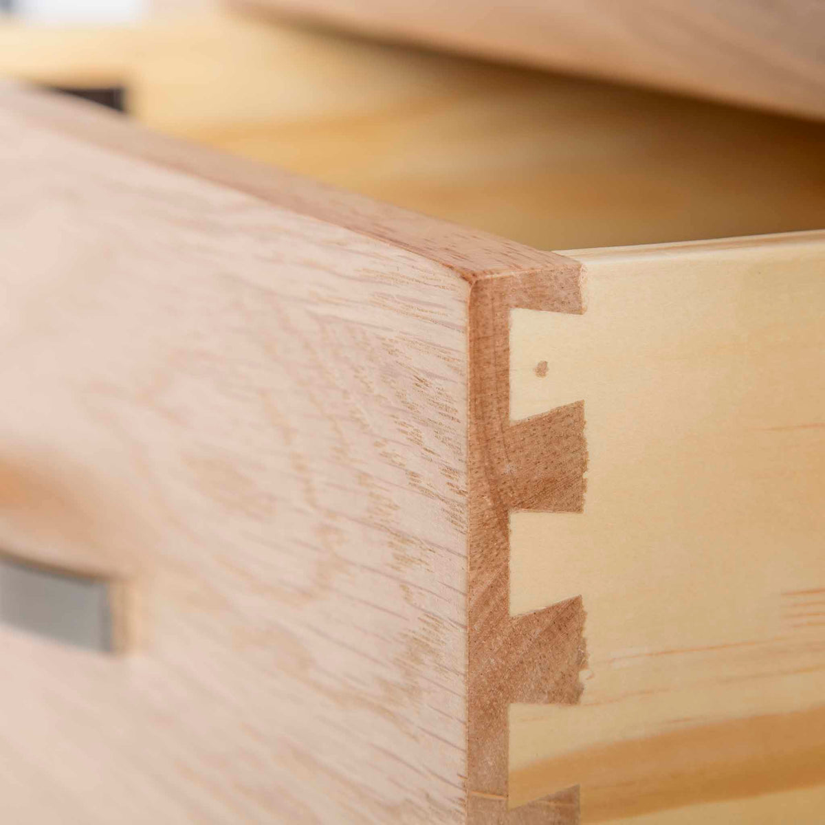 London Oak Mini Sideboard - Close up of dovetail joint on drawer