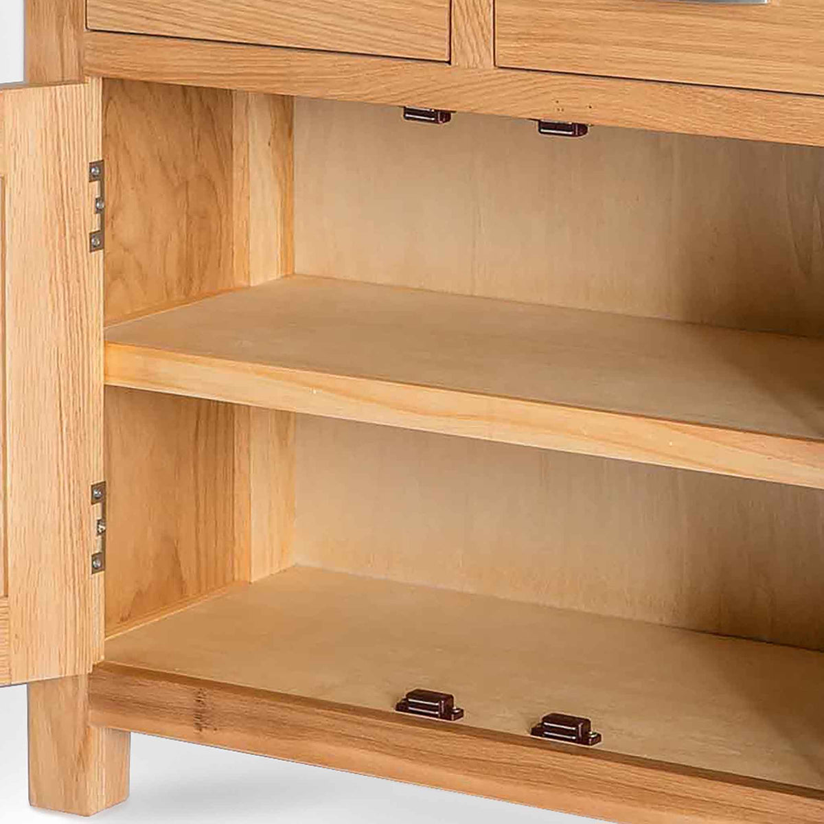 London Oak Mini Sideboard - View of inside the cupboard