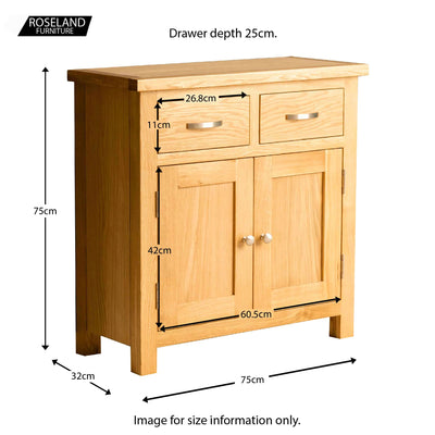London Oak Mini Sideboard - Size guide
