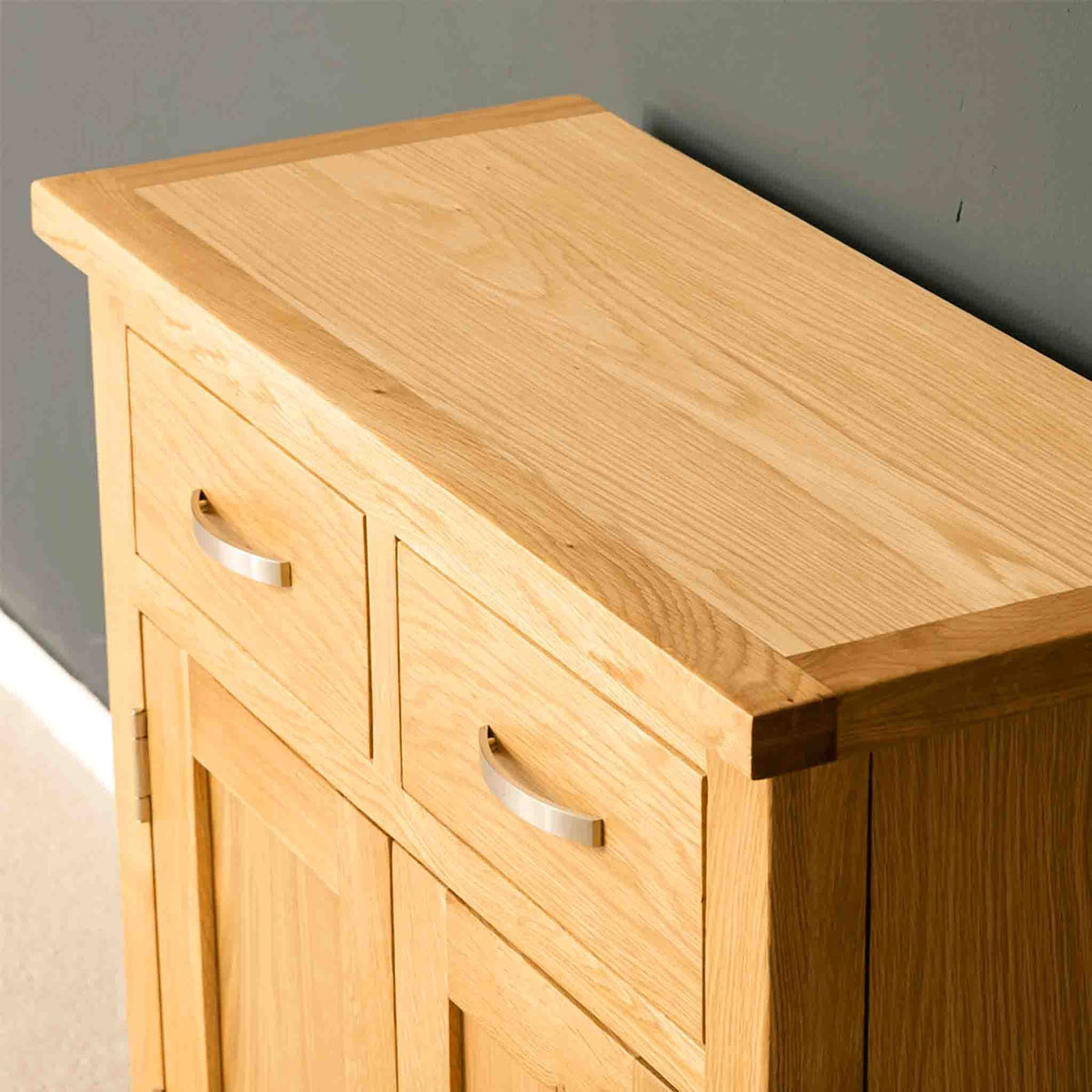 London Oak Mini Sideboard top surface.