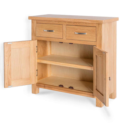 London Oak Mini Sideboard - Side view with cupboard doors open