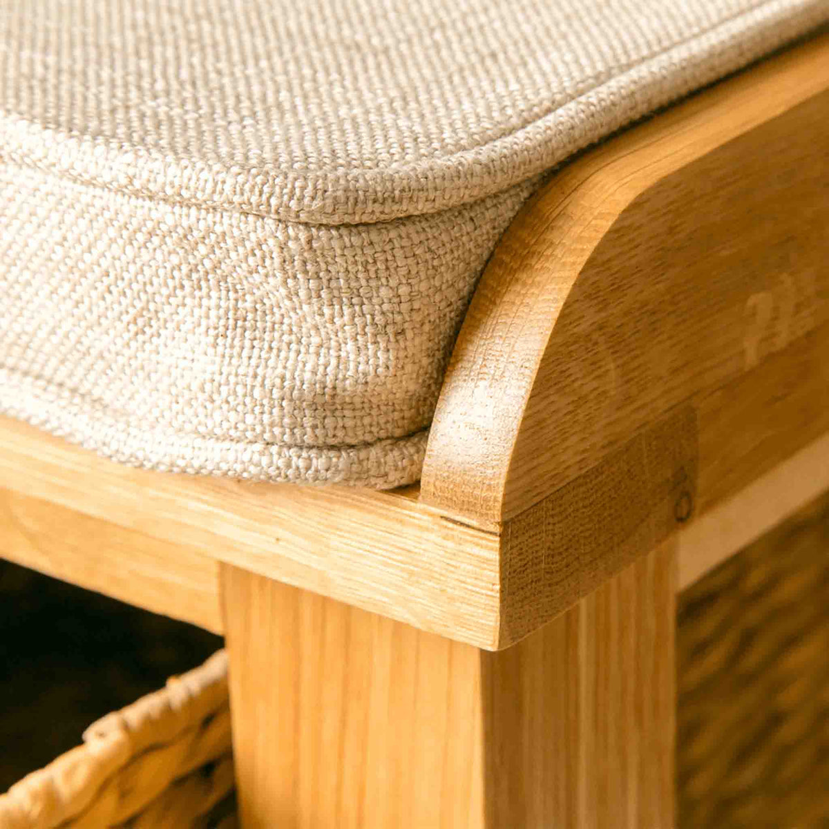 Close of of the padded seat on a London Oak Hall Bench.