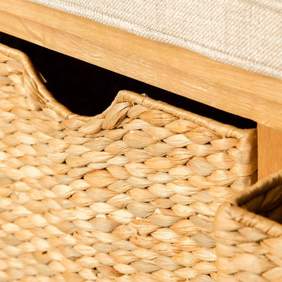 Close up of the London Oak Hall Bench's baskets.