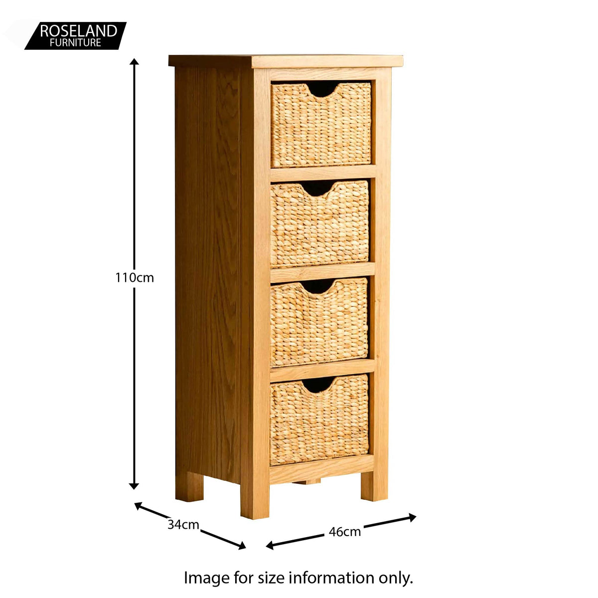London Oak Tallboy with Baskets - Size guide