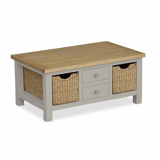 The Farrow Grey Coffee Table with Baskets by Roseland Furniture