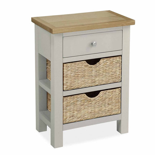 The Farrow Grey Side Table with Baskets by Roseland Furniture