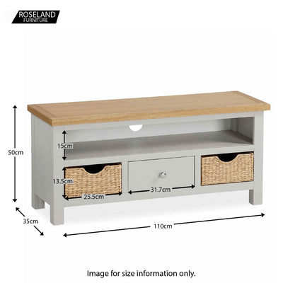 Farrow Grey 110 cm TV Stand with Baskets - Size guide