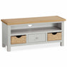 The Farrow Grey TV Stand with Baskets by Roseland Furniture