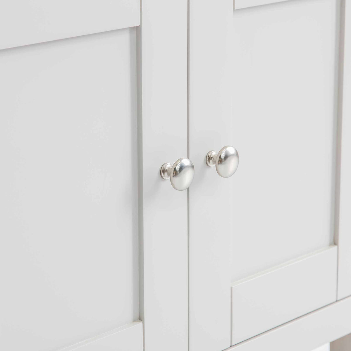 Close up of the cabinet doors on the Farrow Grey Mini Sideboard