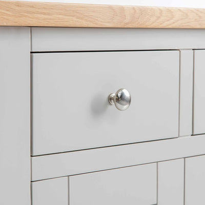 Close up of the painted drawer on the Farrow Grey Mini Sideboard