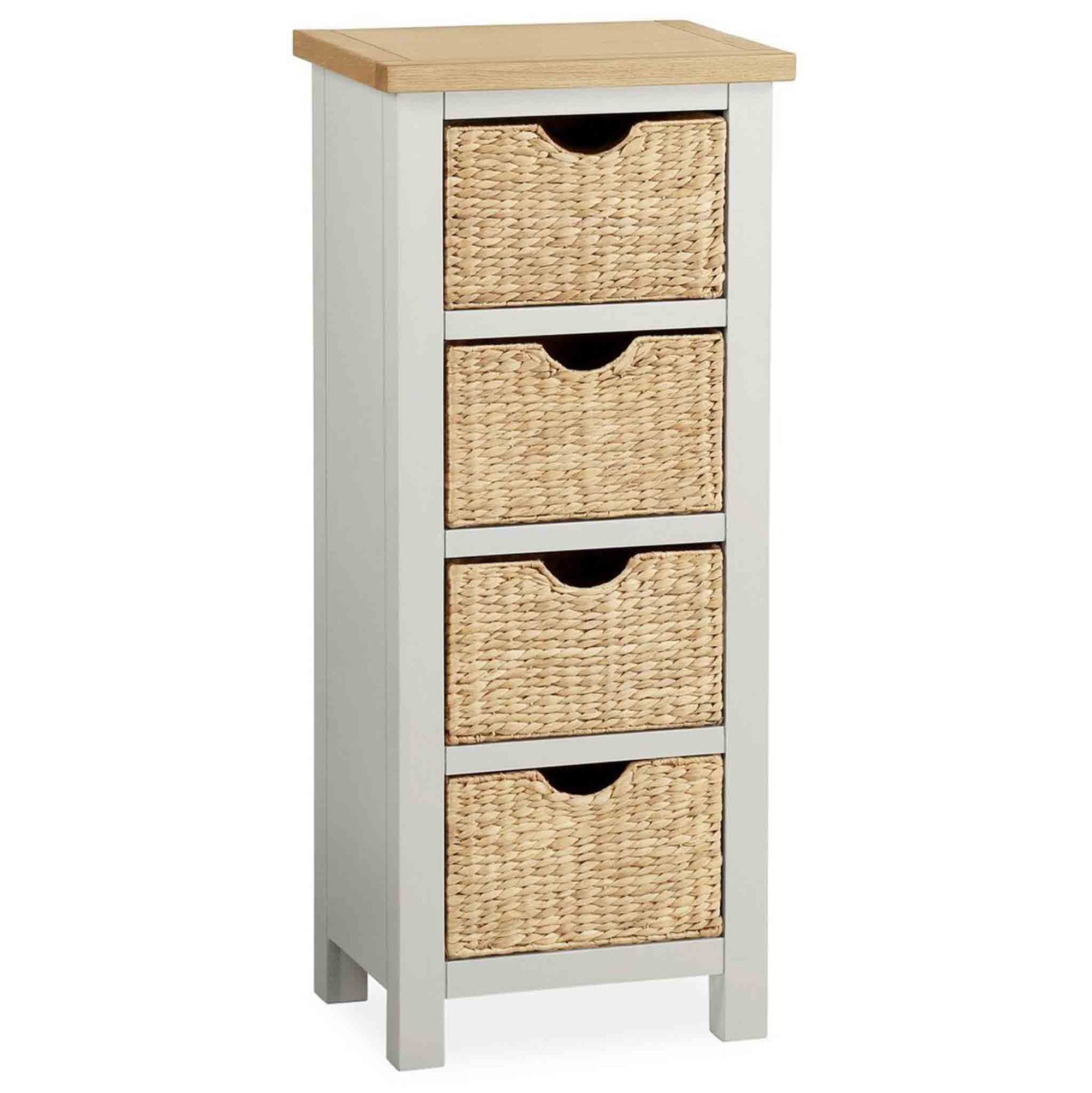 The Farrow Grey Tallboy Chest with Baskets by Roseland Furniture