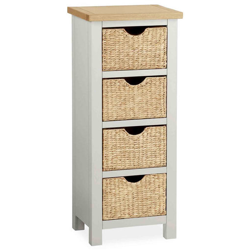 The Farrow Grey Tallboy Chest of Baskets by Roseland Furniture