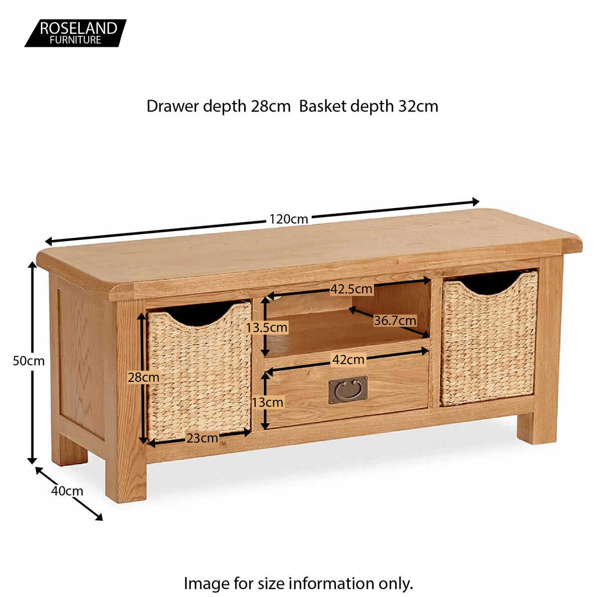 Zelah Oak 120cm TV Stand with Baskets - Size Guide