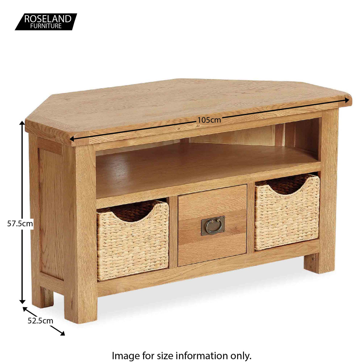 Zelah Oak Corner TV Stand with Baskets - Size Guide
