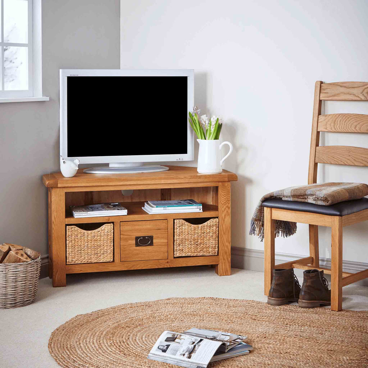 Zelah Oak Corner TV Stand with Baskets