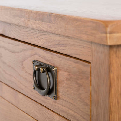 Surrey Oak 85cm TV Stand with Drawers - Close up of drawer handle