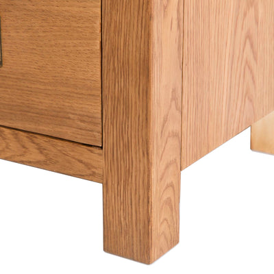 Surrey Oak 85cm TV Stand with Drawers - Close up of foot of TV stand
