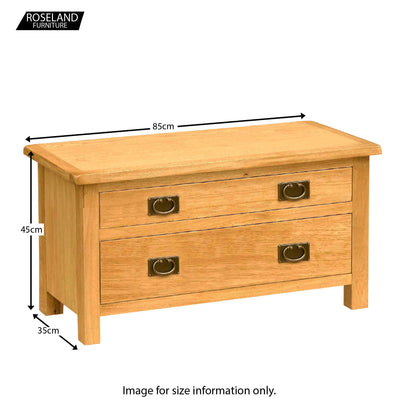 Surrey Oak 85cm TV Stand with Drawers - Size Guide