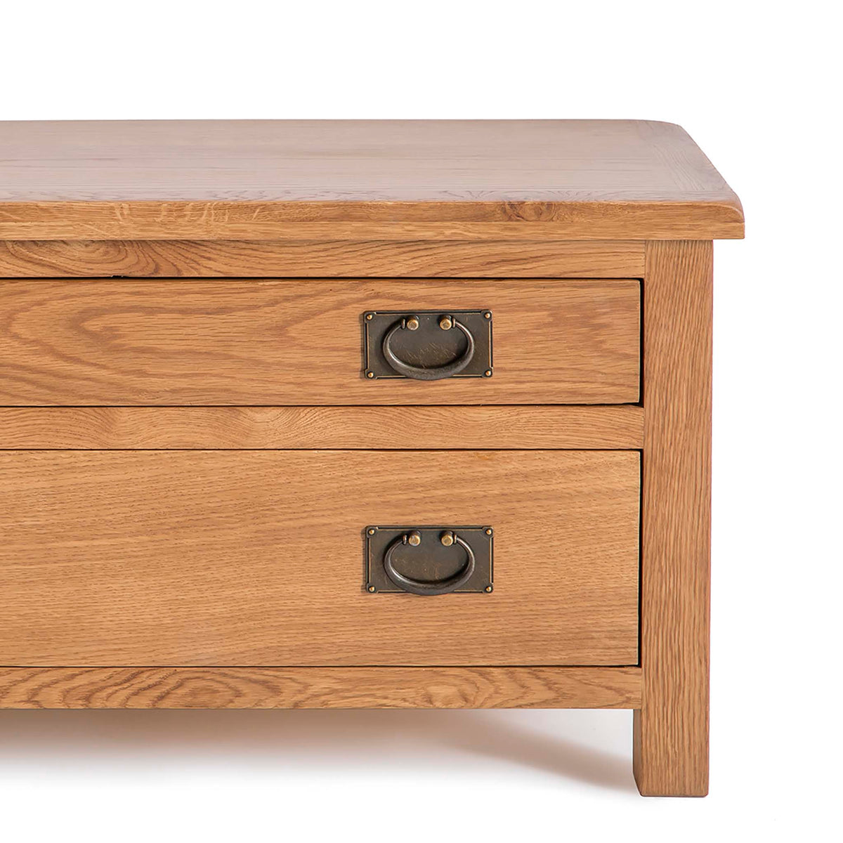 Surrey Oak 85cm TV Stand with Drawers - Close up of front of TV Stand