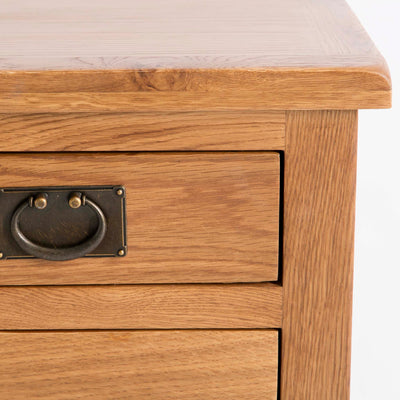 Surrey Oak 85cm TV Stand with Drawers - Close up of drawer