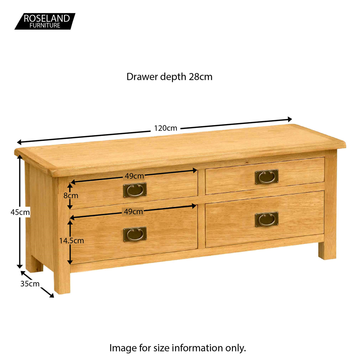 Surrey Oak Large TV Stand - Size Guide