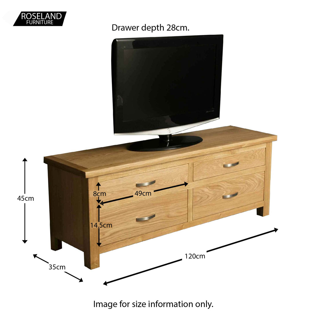 London Oak Large Smart TV Stand - Size guide