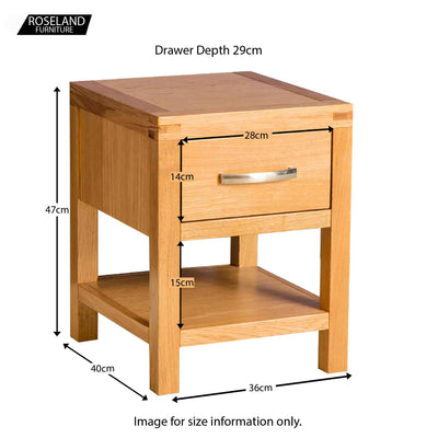 Abbey Light Oak Lamp Table - Size guide