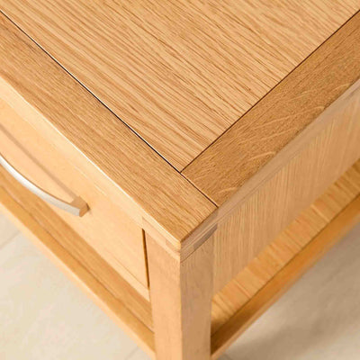 Top Corner view of the Abbey Light Oak Solid Wood Lamp Table by Roseland Furniture