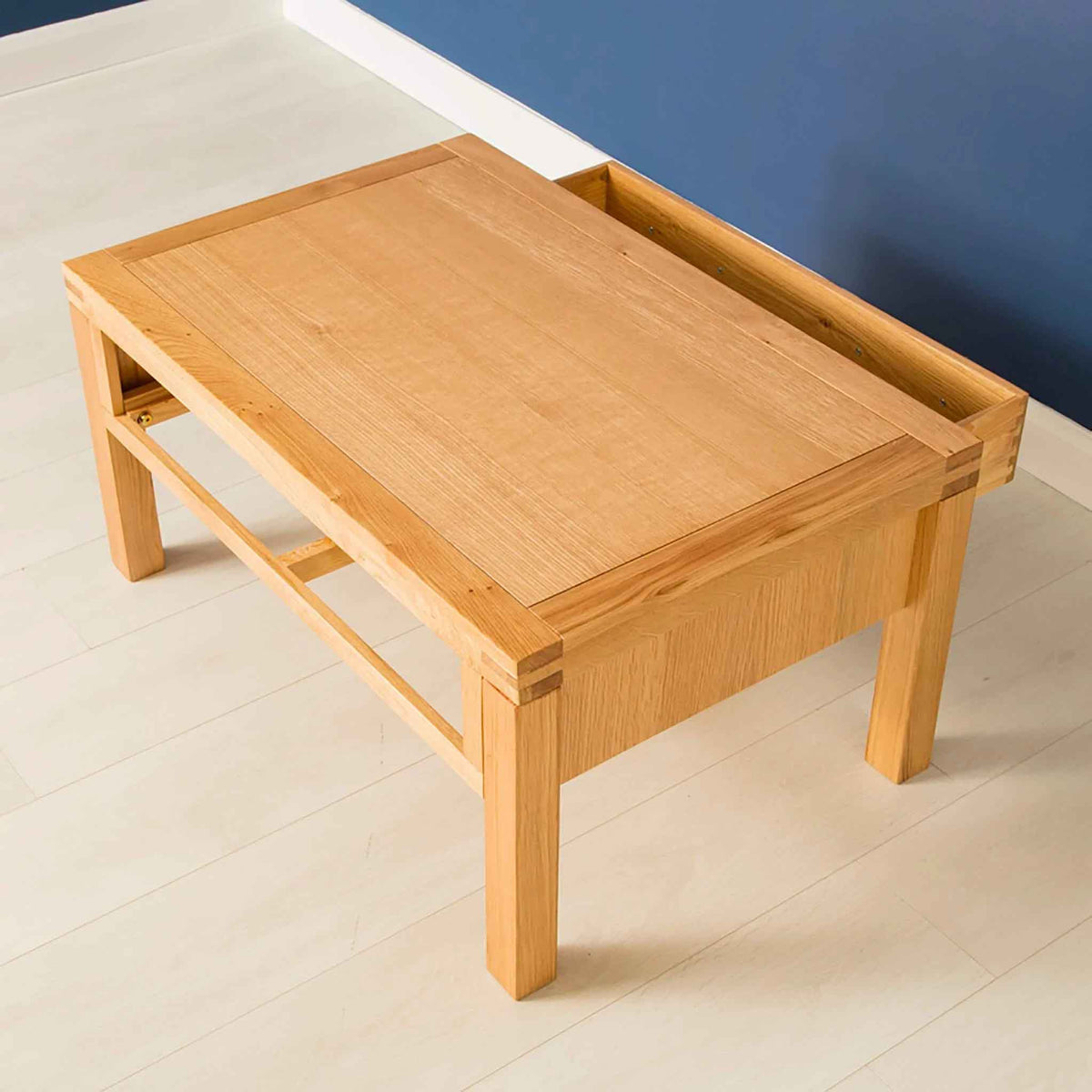 Topside view of the Abbey Light Oak Coffee Table with storage from Roseland Furniture