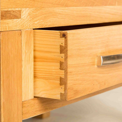 Drawer joint view the Abbey Light Oak Coffee Table from Roseland Furniture