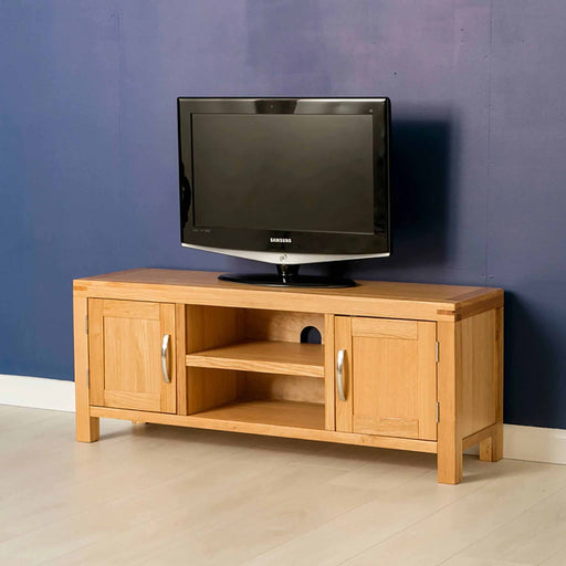The Abbey Light Oak Large TV Stand by Roseland Furniture
